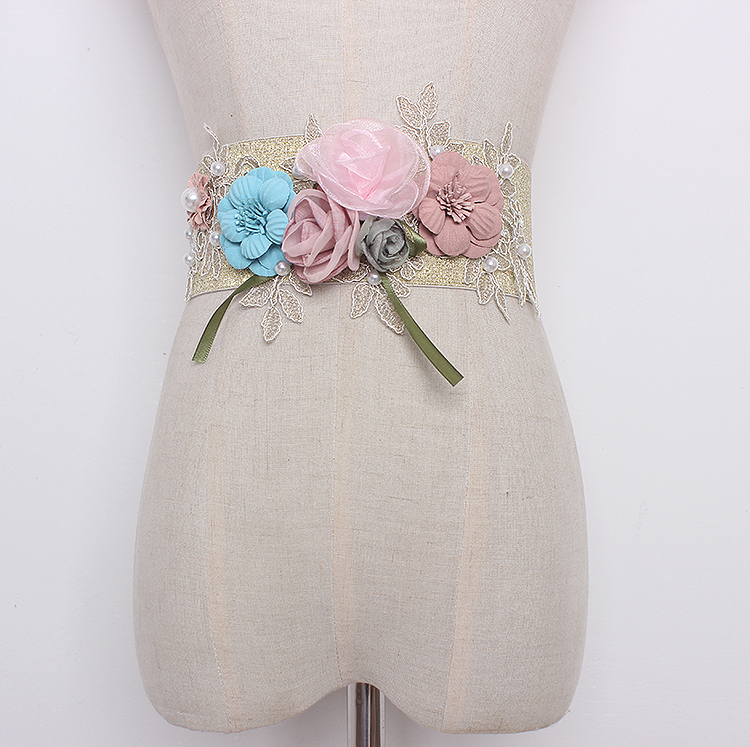 Women's Runway Fashion Elastic Floral Cummerbunds Female Vintage Dress Corsets Waistband Belts Decoration Wide Belt R1280