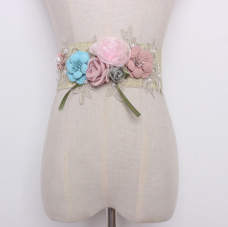 Women's Runway Fashion Elastic Floral Cummerbunds Female Vintage Dress Corsets Waistband Belts Decoration Wide Belt R1280