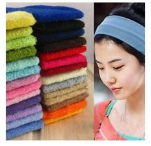wholesales 10pcs New fashion Wide Headband Stretch Hairband Elastic Hair Bands Candy Color Towels Absorb Sweat Turban