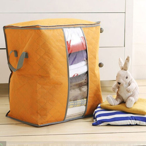 Image 1 - Lasperal Quilt Storage Bags Cotton Home Storage Organizer Portable Anti dust Wardrobe Bamboo Clothes Bag Pouch Storage Box