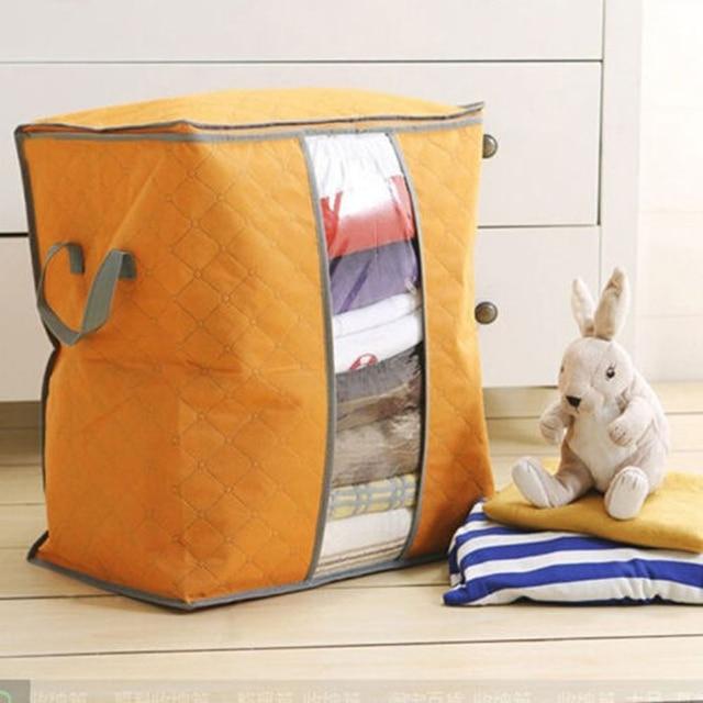 Lasperal Quilt Storage Bags Cotton Home Storage Organizer Portable Anti dust Wardrobe Bamboo Clothes Bag Pouch Storage Box