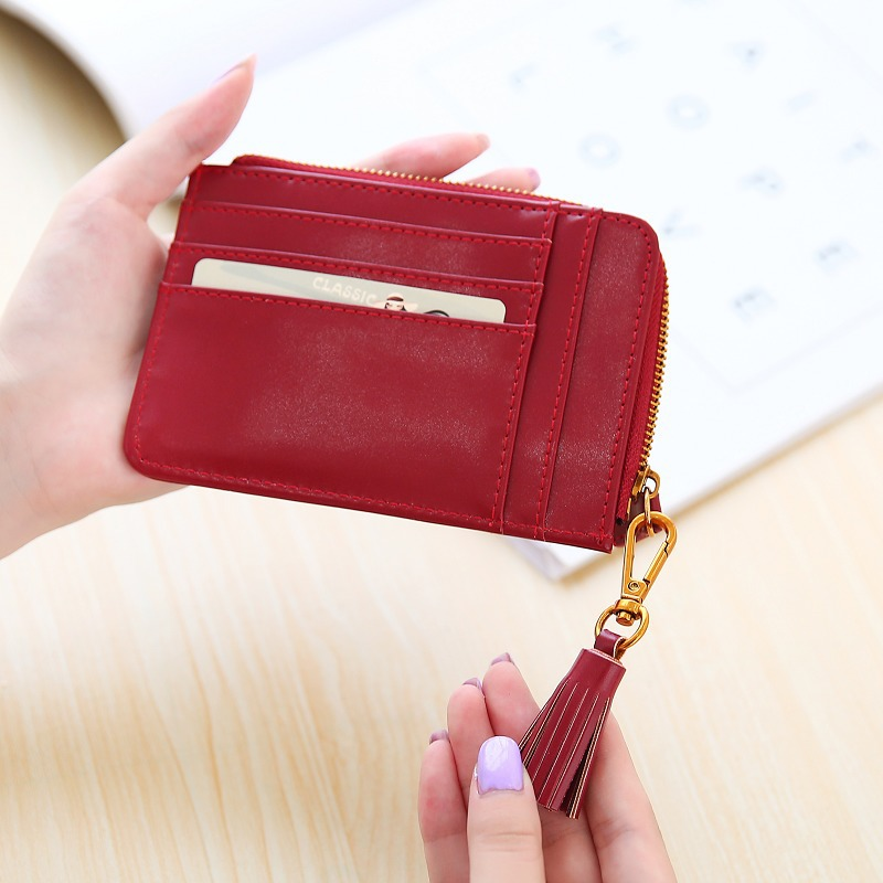 Tassels Zipper Women Wallets Coin Card Cash Invoice Fashion Lady Small Purse Short Solid Female Clutch change purse Carteras #25