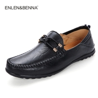 Enlenbenna Brand Fashion Summer Style Soft Moccasins Men Loafers High Quality Genuine Leather Shoes Men Flats Driving Shoes