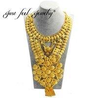 Просто чувствую Африка ювелирные изделия класса люкс Большой Цепочки и ожерелья Золото Цвет цветы Цепочки и ожерелья для эфиопских Свадебн