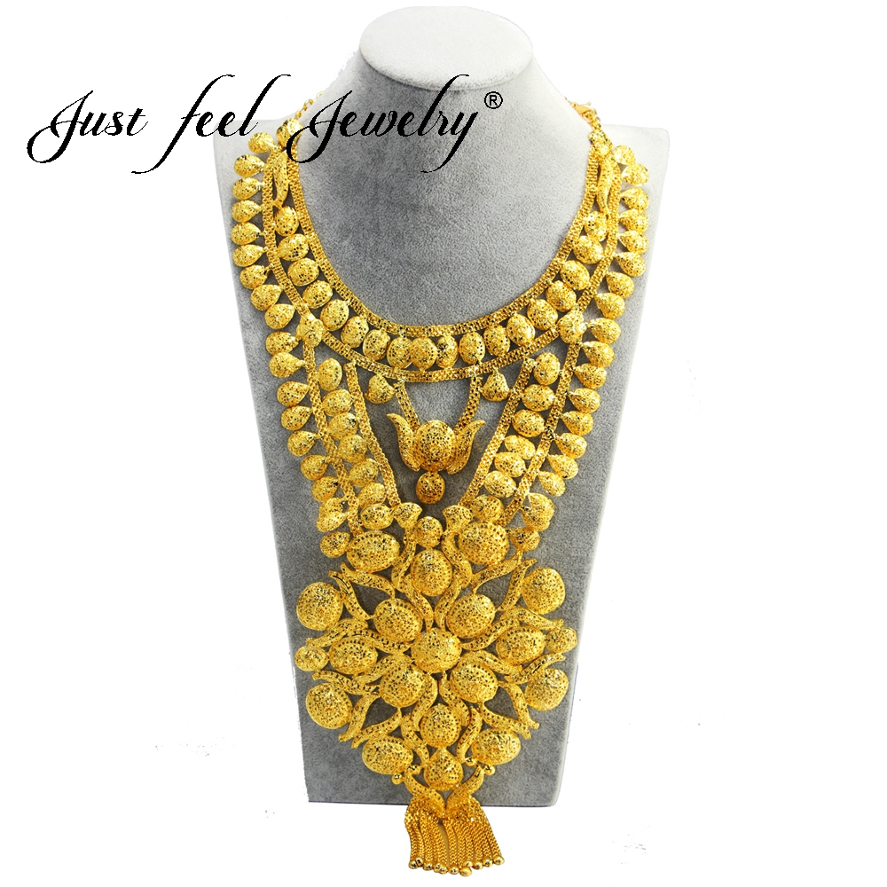 JUST FEEL Africa Jewelry Luxury Big Necklace Gold Color Flowers Necklace For Ethiopian Wedding Bride's Dowry Dubai/India Style