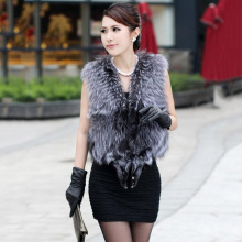 Hot Sale New Spring Women Genuine Natural Silver Fox Fur Women Vest Coats Jackets Waistcoats Female Fur Fashion Striped Style