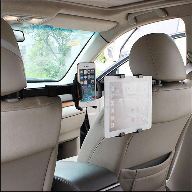 2 in 1 Premium Center Car Seat Headrest Mount Universal Hands Free Tablet + Smartphone Cradle Holder For 10 cm Phones 18 cm Pads