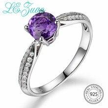 L& zuan 0.76ct Натуральный Аметист Фиолетовый Камень кольцо для женщин стерлингового серебра 925 обручальные кольца цирконы Свадебные украшения подарок