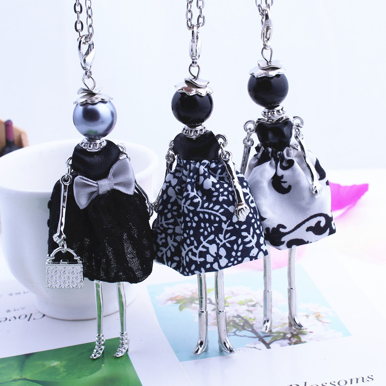 Womens New Design Lovely Black Girl Doll Necklace Cloth Bowknot Dress Princess Pendant Chain Long Necklace Jewelry store Gifts ...