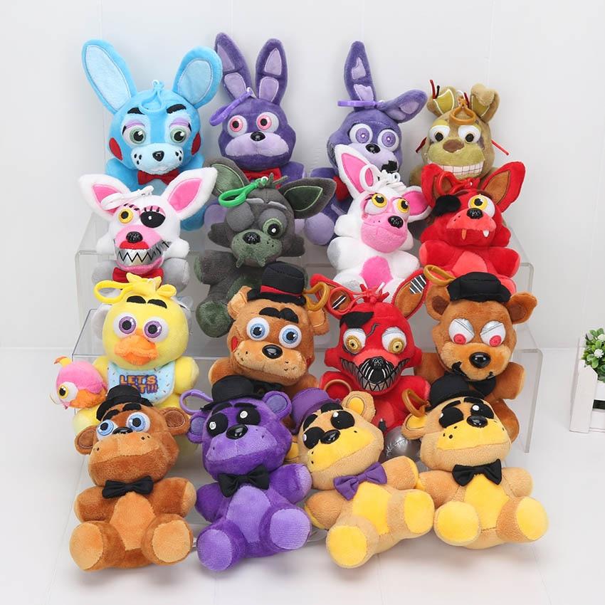 14cm 5.5inch Five Nights At Freddy 4 FNAF plush toys Freddy Fazbear Mangle Chica Bonnie foxy Toys Plush Pendants Keychains Dolls Car phone