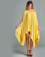2016 New Summer Womens Plus Size One-piece Irregular Dress Fashion Loose Cloak Batwing Sleeve Long Shirts 7 Colors