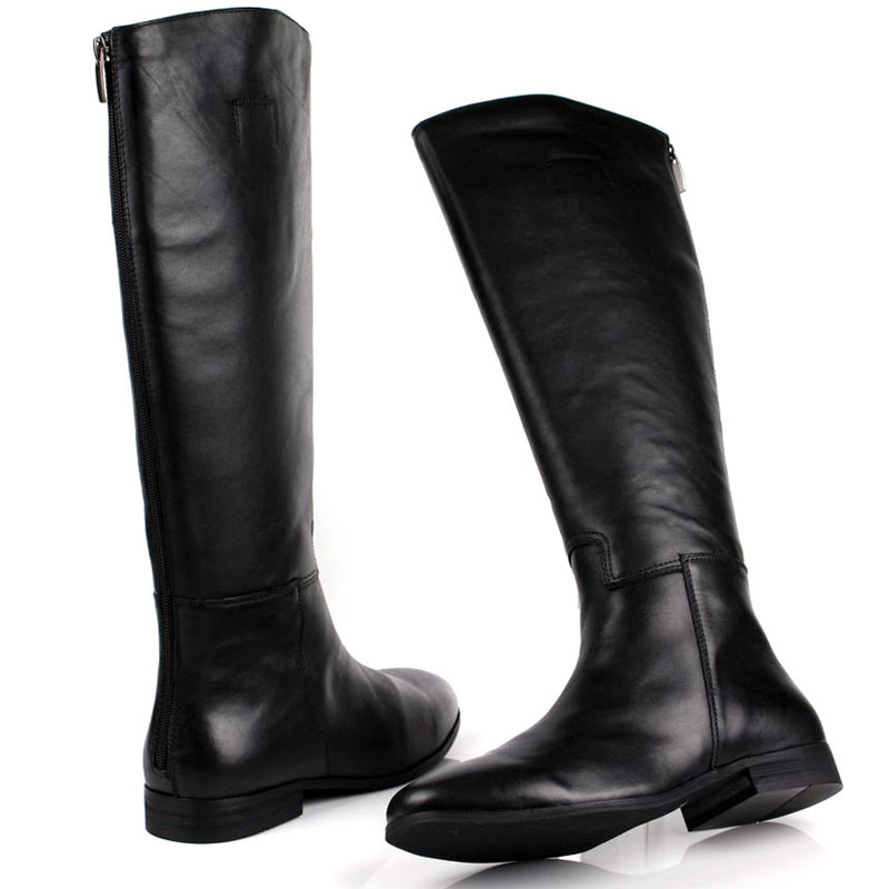 Motorcycle Knee Toe 30Off On qyfcioufu Boot Genuine British Black Desiger Us269 Round Long Men 93 Back High Leather Zip Shoes Man ED9WH2IY