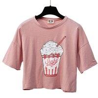 Women S Summer New Harajuku Ice Cream T Shirts Korean Style Cotton Loose Crop Top Short