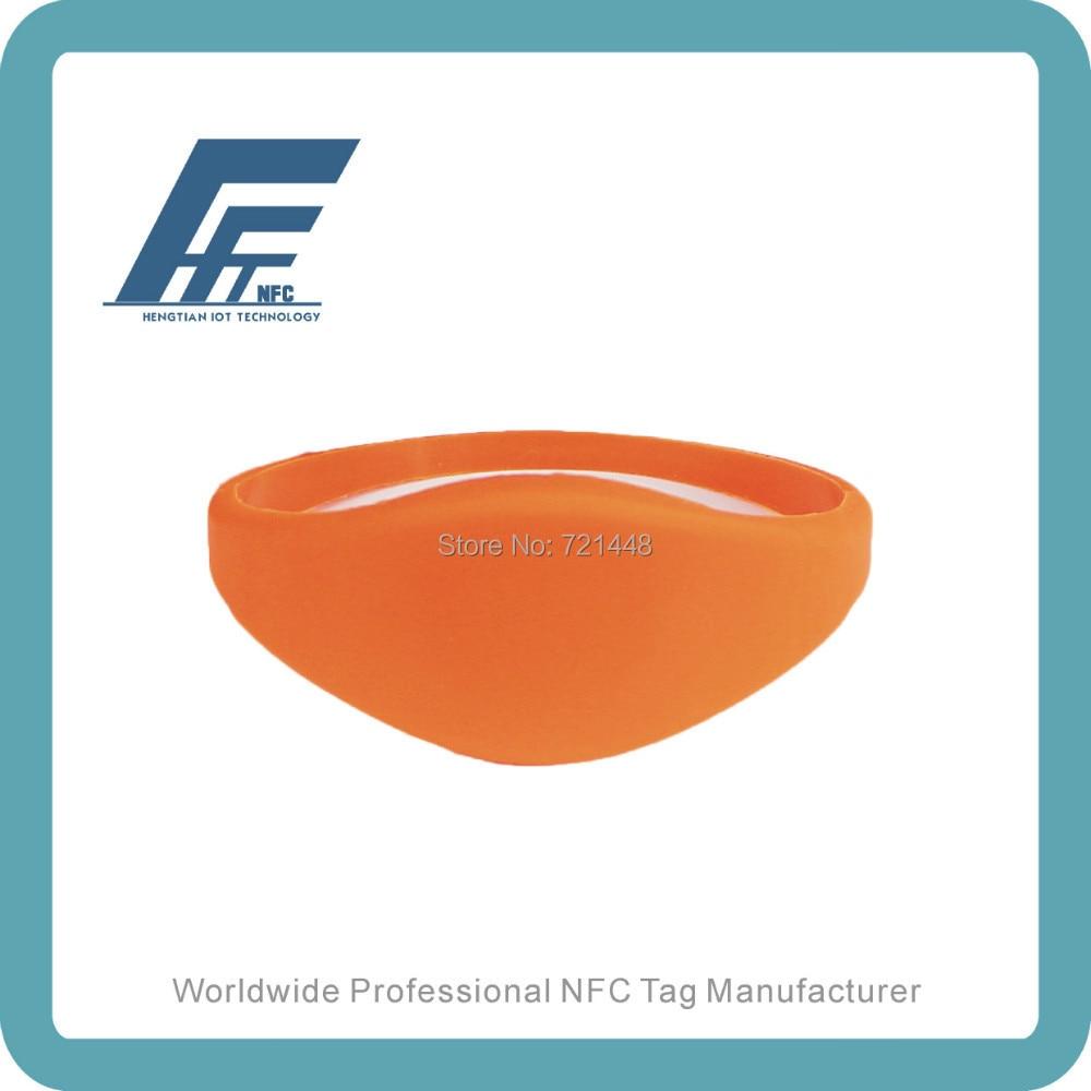 100pcs NFC Silicone Wristband Tag NTAG213 Orange Silicone Wristband Fits Female adults Dia65mm ntag213 wristband nfc wristband nfc