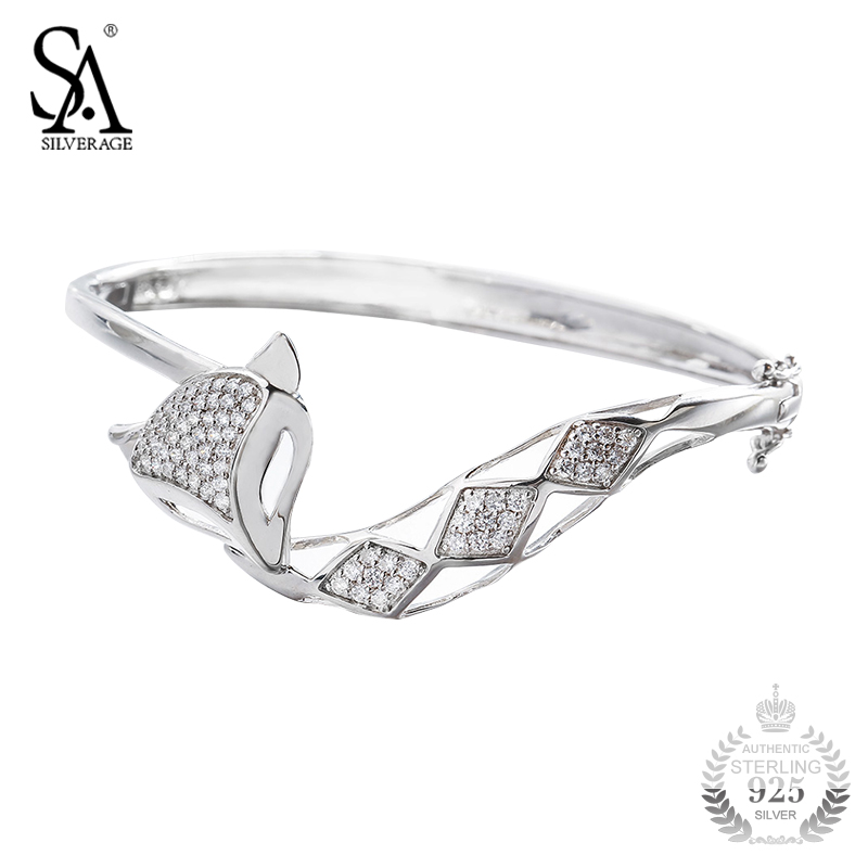 SA SILVERAGE 925 Sterling Silver Bangles Women Fashion Style Fox Bangle Bracelet Pure Silver Jewelry Party Gift