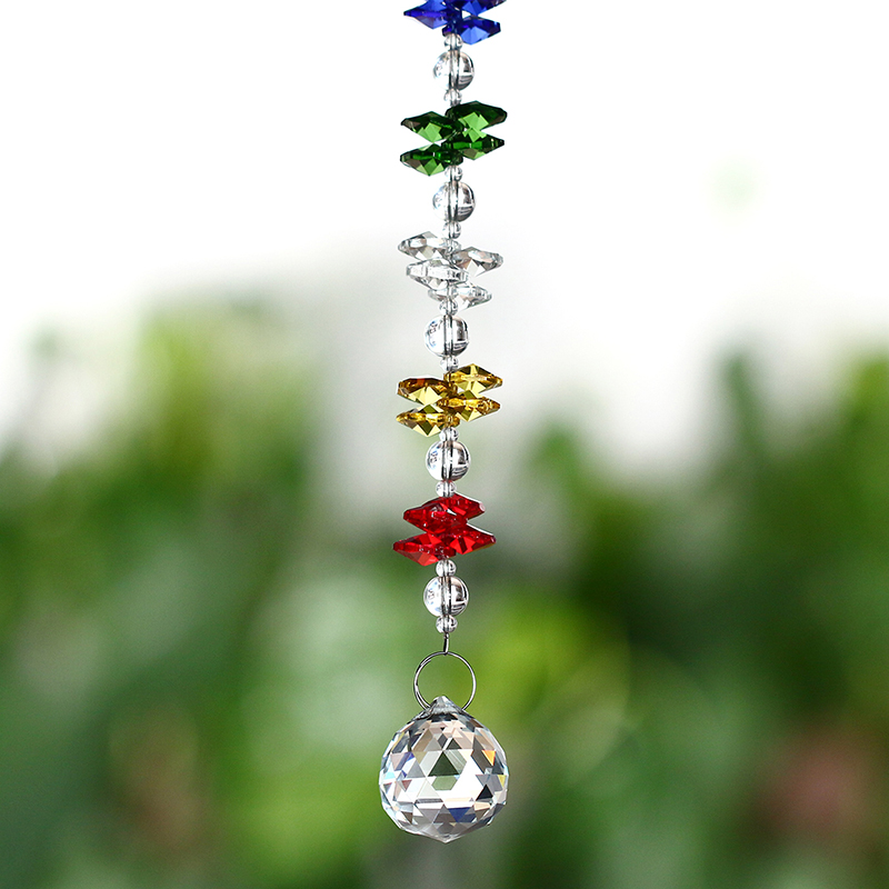 12 դյույմ Colorful Suncatcher 30mm Clear Glass Crystal Ball Crystal Pendants Crystal Prism Chandelier Parts Home Decoration