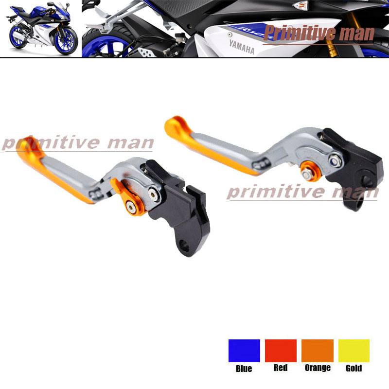 ФОТО For YAMAHA YZF R125 2008-2011 Motorcycle Accessories Adjustable Folding Extendable Brake Clutch Levers Orange