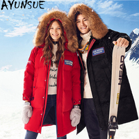 AYUNSUE Down Jacket Woman Hooded Outdoor Parka Winter Coat Women Raccoon Fur Collar Camouflage Coats Canada Style Parkas MY1545