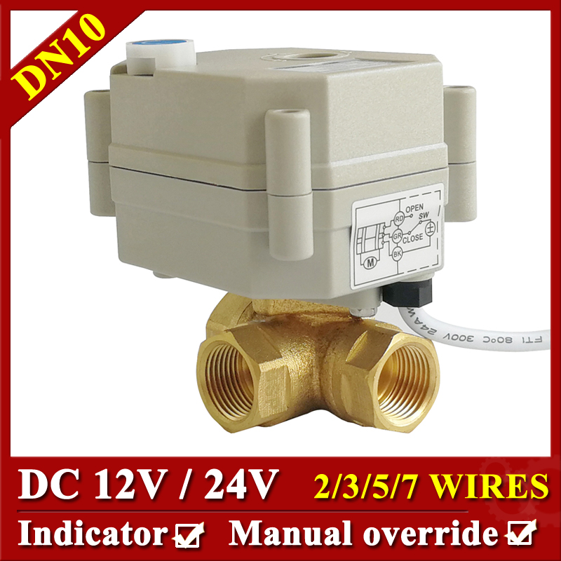 Tsai Fan Actuated Ball Valve BSP/NPT 3/8'' Brass DN10 3 Way Horizontal L/T Type Electric Shut Off Valve For Flow Control