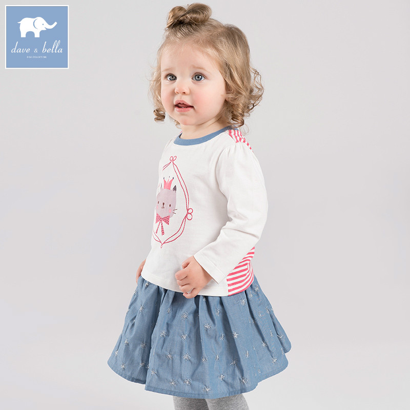 DBA6602 dave bella spring infant baby girls fashion clothing sets printed suit children toddle outfits high quality clothes