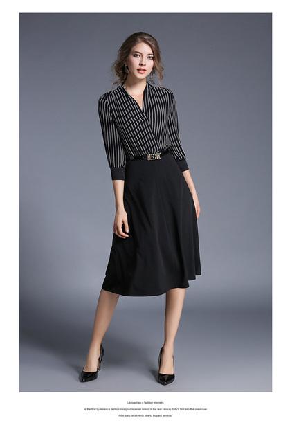 Europe V-Neck Striped Dress