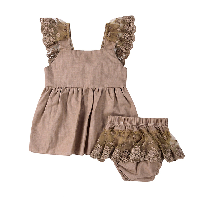4815a6e61 2Pcs Girl Suit Newborn Baby Girls Outfits Clothes Kids Girl Lace Top  Sleeveless T-shirt Khaki Shorts New Infant Girl Bottoms