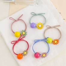 Ball Hair Tie For Girls New Style Candy Color Sunflower High Elasticity Tie Knot Leather Band Round Ring Ladies Hairbands Trendy недорого