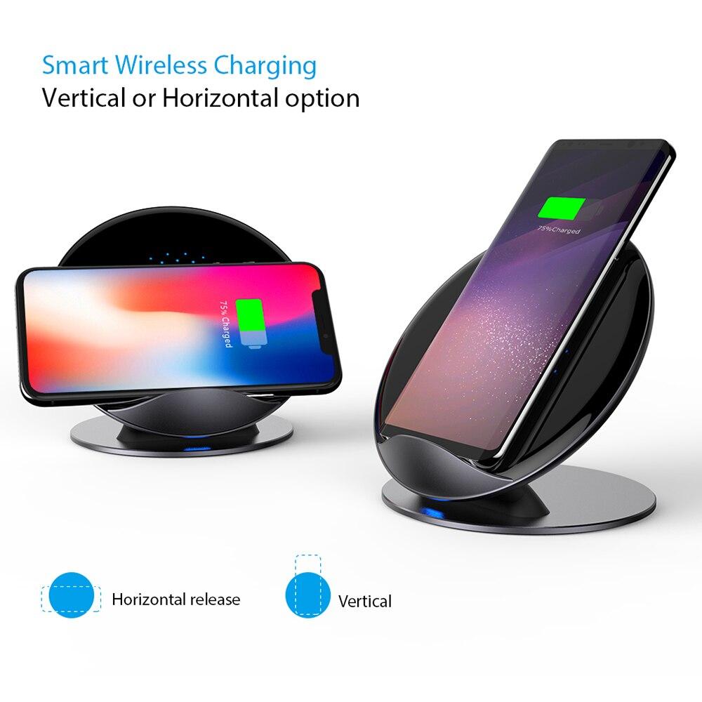 Chargeur sans fil rapide 2 en 1 pour iPhone 8 Plus X chargement USB pour Samsung Galaxy S9 S8 Plus Note 9 support de support de chargeur Qi