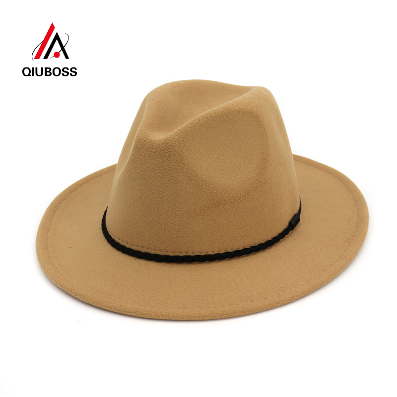 c626960e8e8 QIUBOSS Fashion Vintage Ladies Wool Felt Mens Fedora Trilby Hat Simply  Braided Rope Decorated Panama Flat