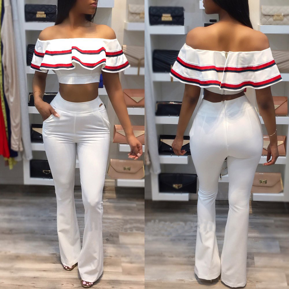 2017 New Fashion Women Sexy 2 pieces Summer Vestidos Jumpsuits Ladies Club Bandage Rompers Bodysuits Playsuits Boot Cut CLUBWEAR