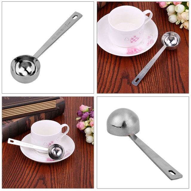 1 Pcs Multifunction Stainless Steel Coffee Scoop 15ml 30ml Measuring 1cup Ground Tablespoon Spoon