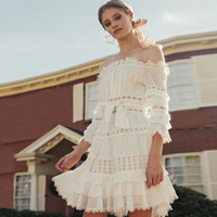 New 2018 Family Fairy Lace Stitching waist slimming collar and shoulder cake dress