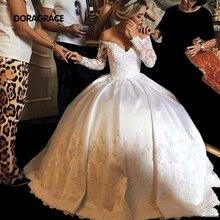 New Arrival Glamorous Applique Off-Shoulder Long Sleeves Wedding Gowns Designer Dresses DG0109