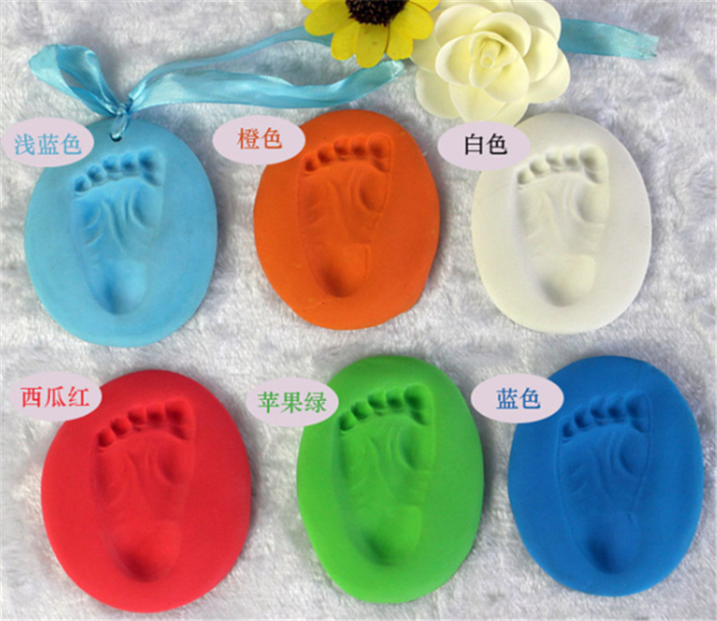 7 Colors  Baby Care Air Drying Soft Clay Baby Handprint Footprint Imprint Kit Casting Pa ...