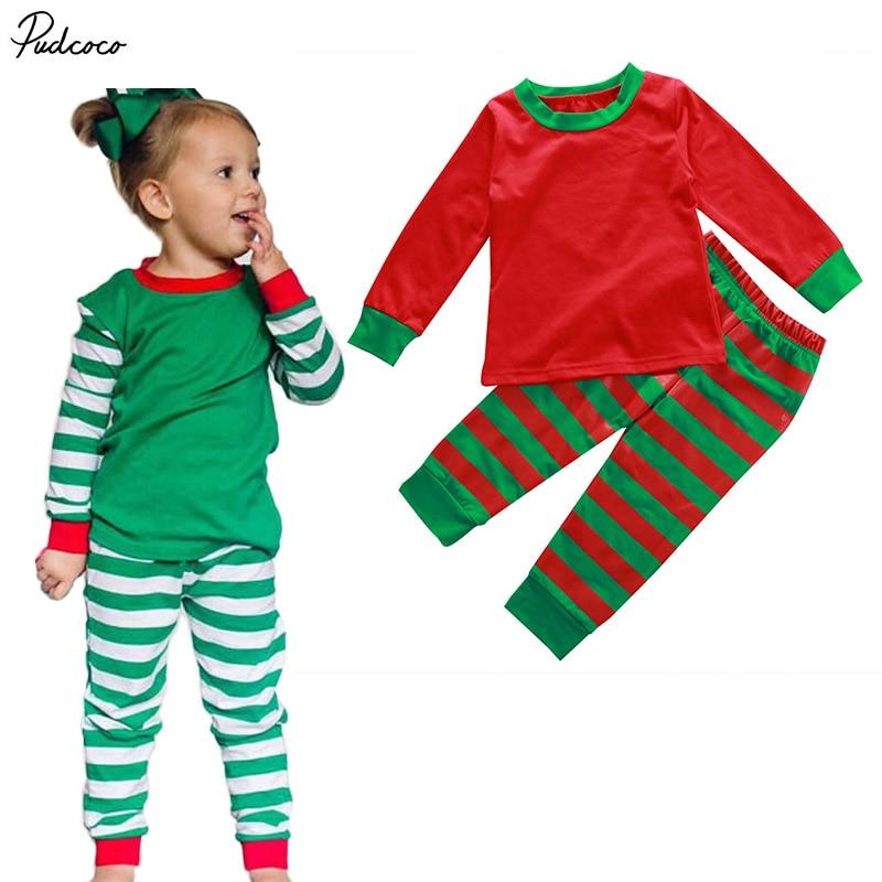 Christmas Baby Kids Boys Girls Xmas Stripe Sleepwear Nightwear Homewear Striped Pajamas Pjs Set Clothing