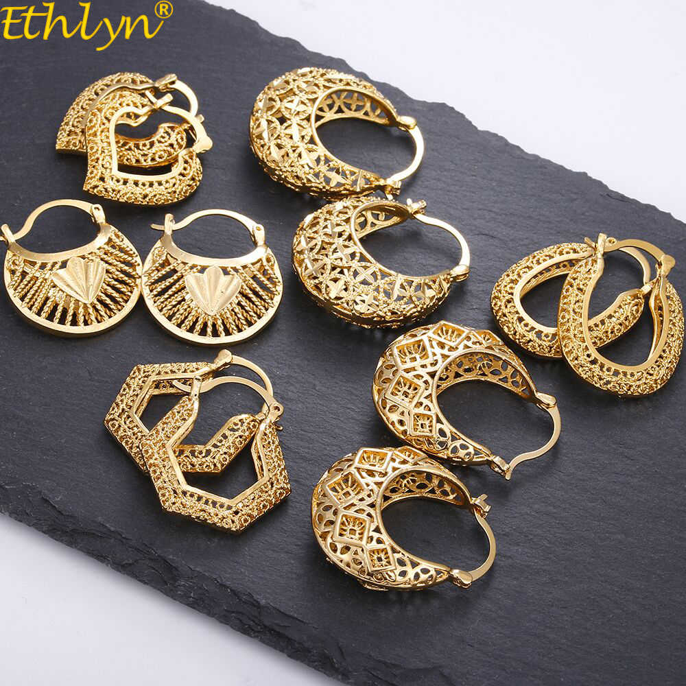 Ethlyn Vintage Style Africa Earrings for Women Gold Color Clip Earrings Girl,Ethiopian Jewelry Arab Middle East Gift E73