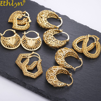 Ethlyn Vintage Style Africa Earrings for Women Gold Color Clip Earrings Girl,Ethiopian Jewelry Arab Middle East Gift E73 Fine Jewellery Jewellery & Watches Women's Fashion