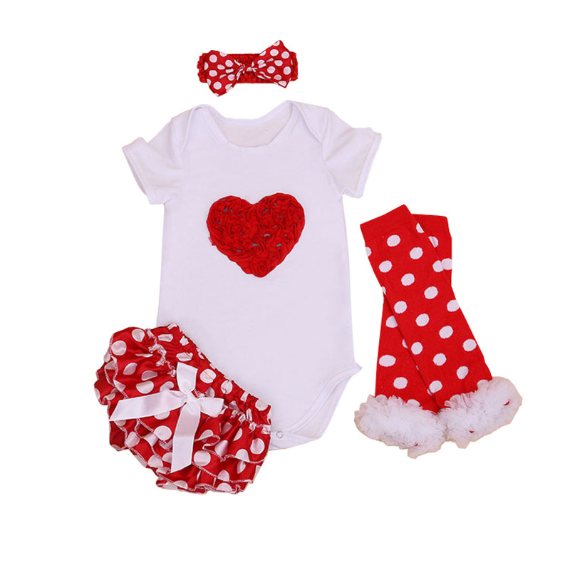 Baby Girl Red Dot Sets Red Love Romper /Lace PPpants /Legging/ Headband 4pcs European Style Girl Kids Clothes Sets bebes sets