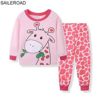 13dee901a SAILEROAD 2019 marca pijamas Conjuntos Bebé niños ropa de dormir conjunto  niños 100% algodón de manga larga dibujos animados jirafa pijamas para niñas