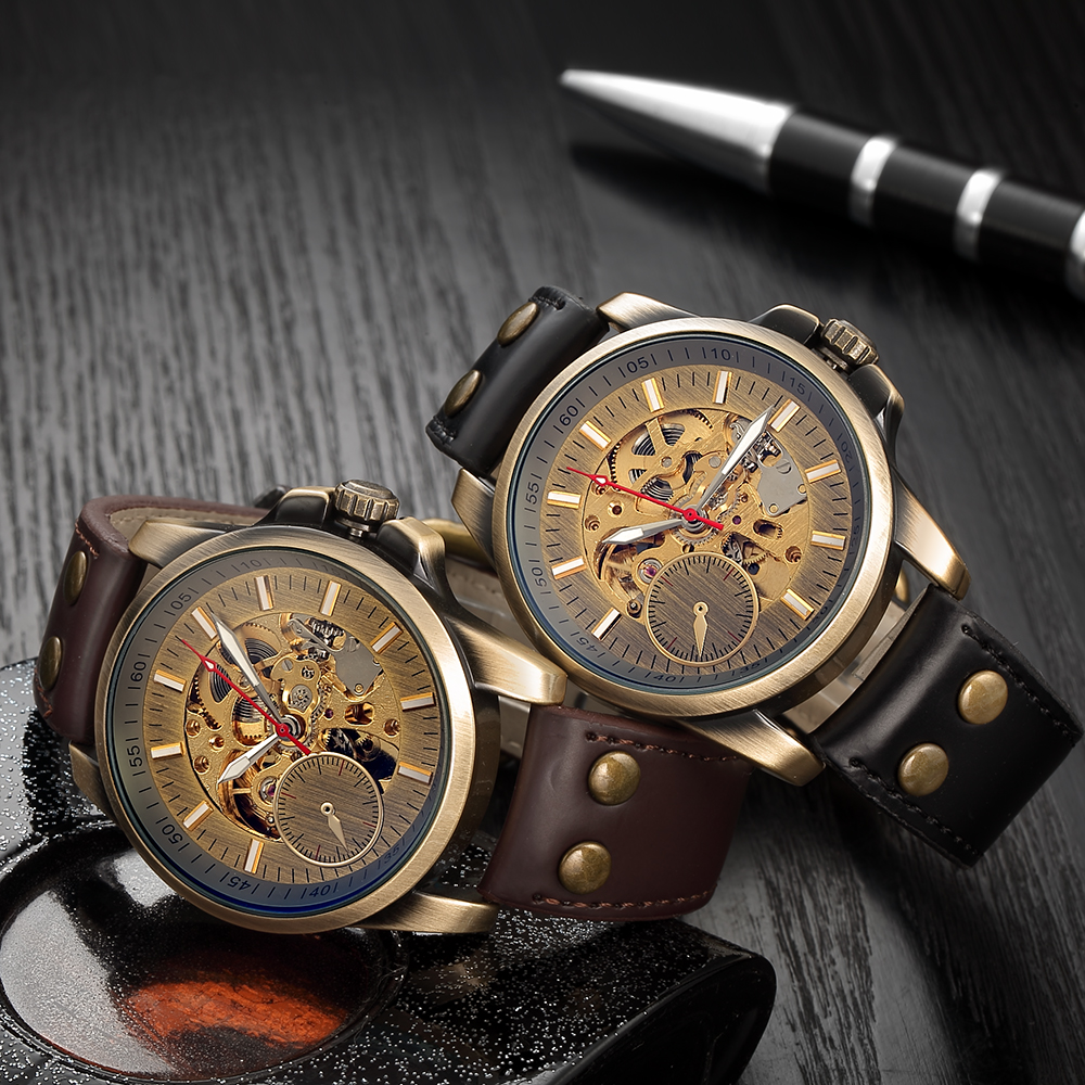 Men Mechanical Watch Automatic Watch Skeleton Self Winding Men Watches Bronze Leather Steampunk Transparent Wristwatch Clock Men 4