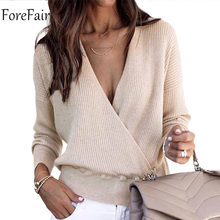 Forefair Winter V Neck Women Sweater 2018 Trendy Cross Casual Plus Size Long Sleeve Pullovers Knitted Sexy Sweater Female