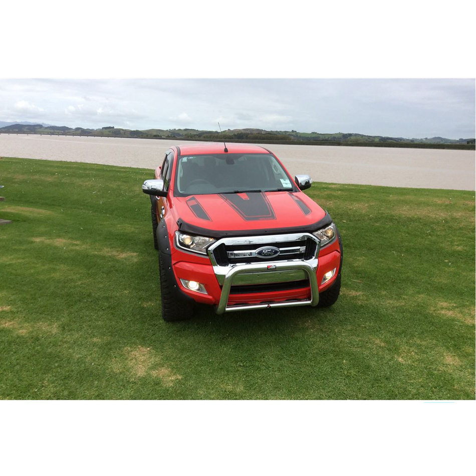 free shipping 2 PC cool hood bonnet Gradient side stripe graphic Vinyl sticker for Ford ranger 2015 2016 2017sticker 2 pc hilux hilux chequered racing side stripe graphic vinyl sticker for toyota hilux decals