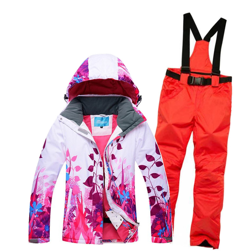 Ski Suit women Sets Super Warm Thicken Waterproof Windproof Winter Snow Suits Sets Winter Skiing And Snowboarding Jacket women 2018 new lover men and women windproof waterproof thermal male snow pants sets skiing and snowboarding ski suit men jackets