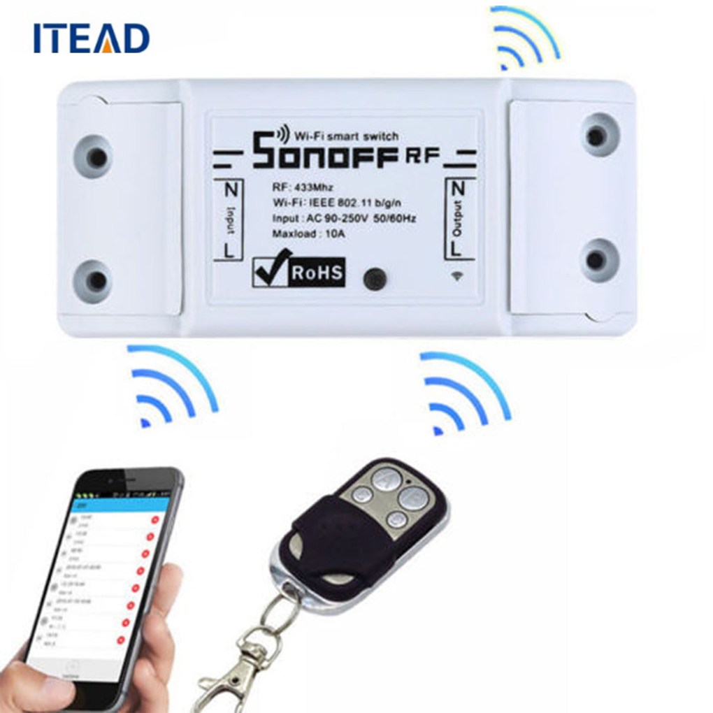 ITEAD Sonoff RF 433Mhz Wireless Smart Switch With RF Receiver Remote Controller Sensor Intelligent For Smart Home Wi-fi Switch лампа светодиодная volpe rgb e27 3 вт свет rgb
