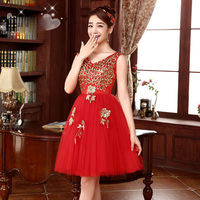 New Arrival Short Homecoming Dresses 2016 Sleeveless V Neck A Line Tulle Embroidery Beautiful Prom Graduation