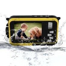 """FHD 1080 P 24MP Двойной Экран 2.7 """"/1.8"""" 5 М Водонепроницаемая Цифровая Видеокамера Cam + США подключите Адаптер Портативный Мини-Камера"""
