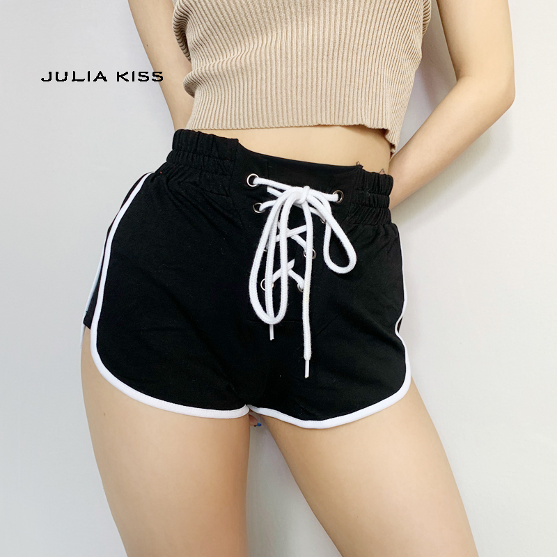 Women Lace Up Runner Shorts With Contrast Binding