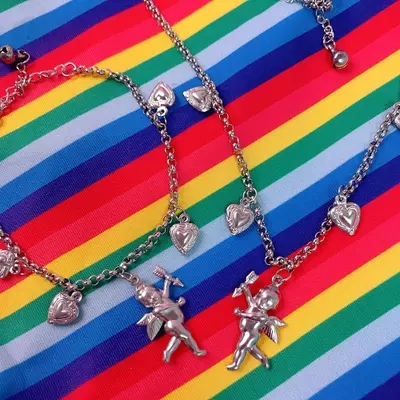 e50ff8cb9 Lucky Angle Delicate Necklace Stainless Steel Aesthetic Bracelet Harajuku  Hiphop Ulzzang Retro Vintage 90s Jewelry Accessor-in Chain Necklaces from  Jewelry ...