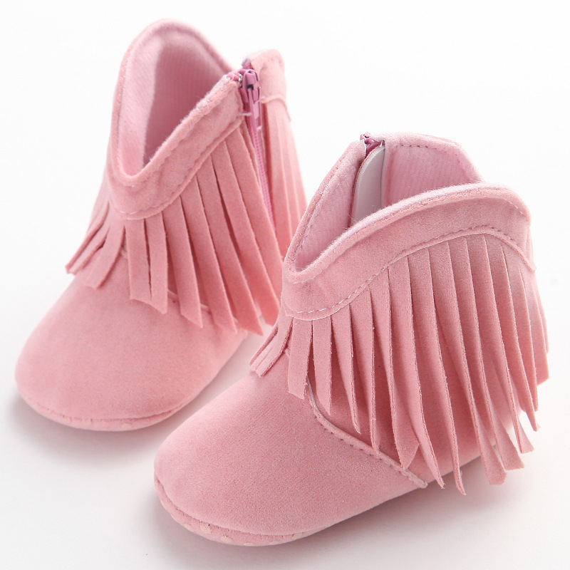 HONGTEYA fringe Toddler Infant Moccasin Newborn Baby Girl Shoes Soft Sole Booties Prewalker Cute Tassel First Walker