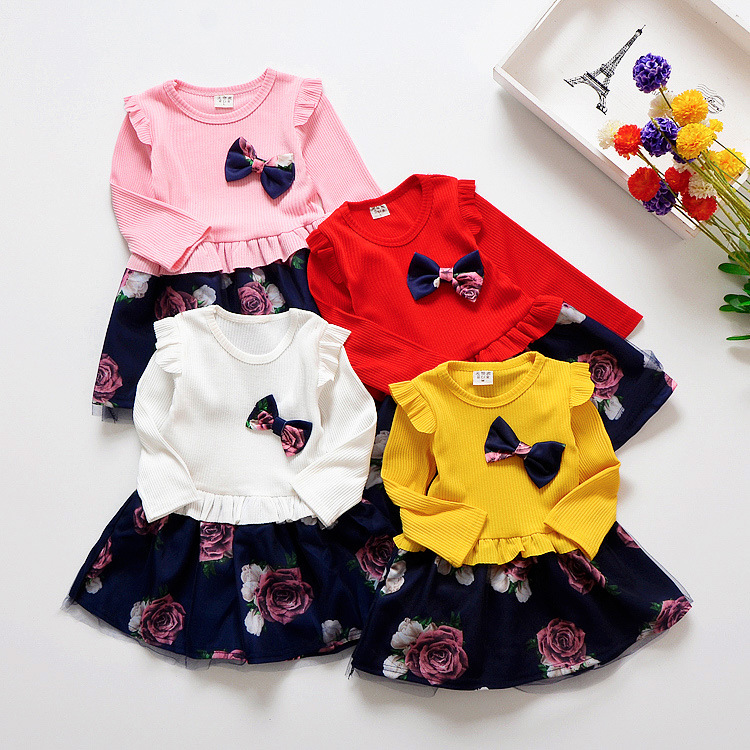 HTB1g2vzXJfvK1RjSszhq6AcGFXai Spring Autumn Toddler Girl Dress Cotton Long Sleeve Toddler Dress Floral Bow Kids Dresses for Girls Fashion Girls Clothing